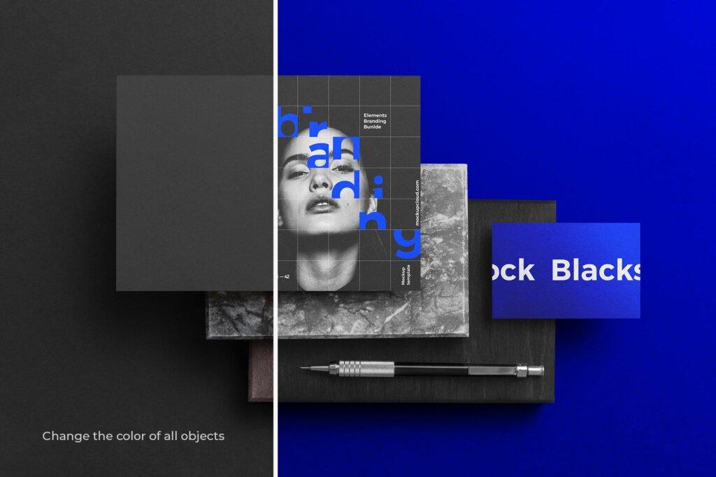 轻奢黑色高端品牌识别VIS系统办公模板素材样机下载Blackstone Branding Mockup Vol. 1插图(3)
