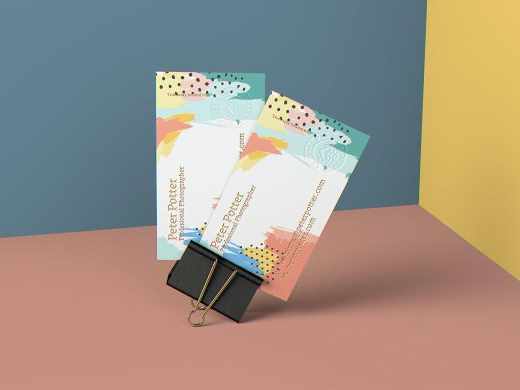 企业商务名片品牌识别系统办公文具样机素材下载Business Card MockUp v1插图(2)