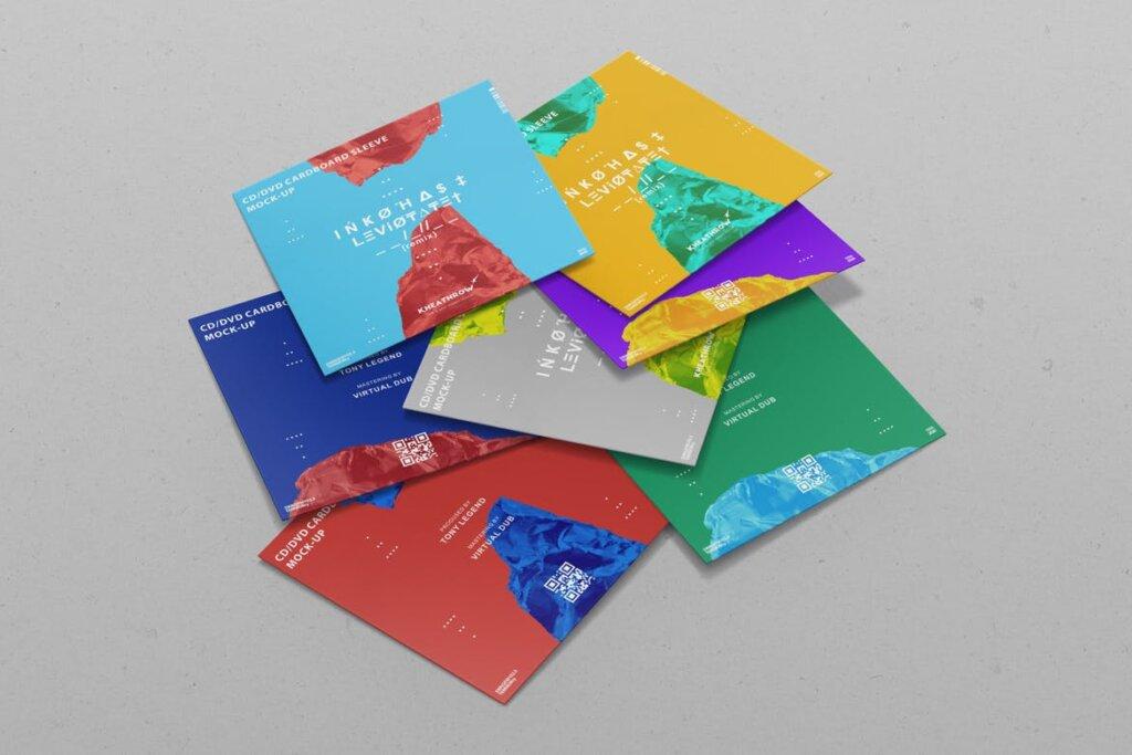 精致现代音乐唱片CD / DVDСard实物模型样机素材模型CD / DVD Сardstock Paper Sleeve Mock Ups Vol 1插图(3)