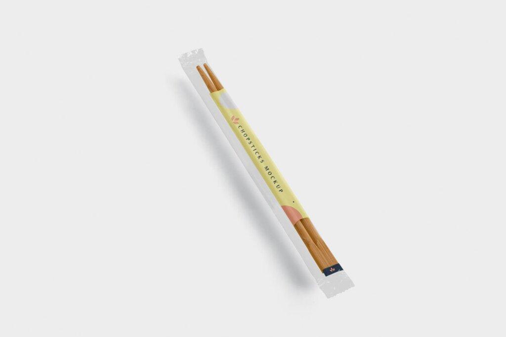 精致木质纹理高端品牌筷子样机素材下载Chopsticks Mockup in Transparent Packaging插图(3)