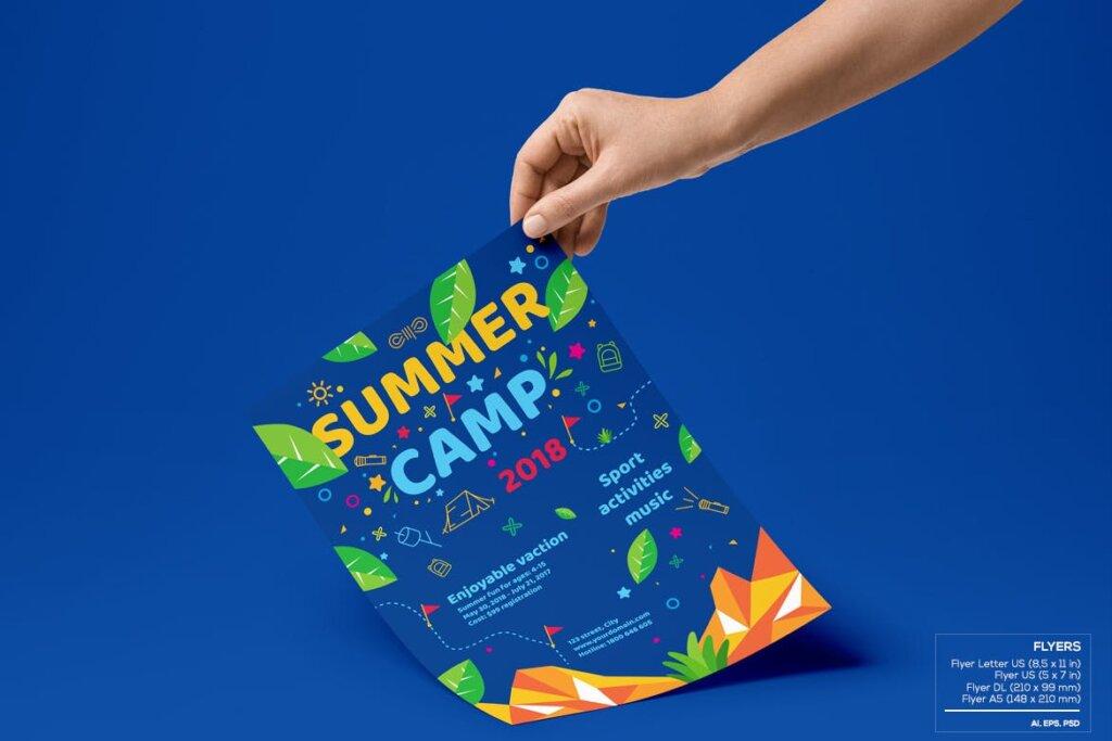 商业活动传单模板素材样机下载Kids Summer Camp Set Template WPLZAE插图(3)