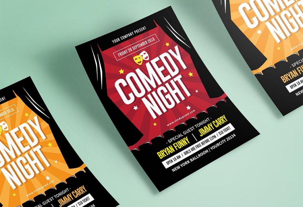 夜场剧院海报宣传单模板Night Comedy Flyer插图(3)