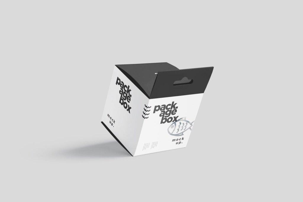 商品包装礼品盒模模型样机素材下载Package Box Mockup Set – Square With Hanger插图(2)