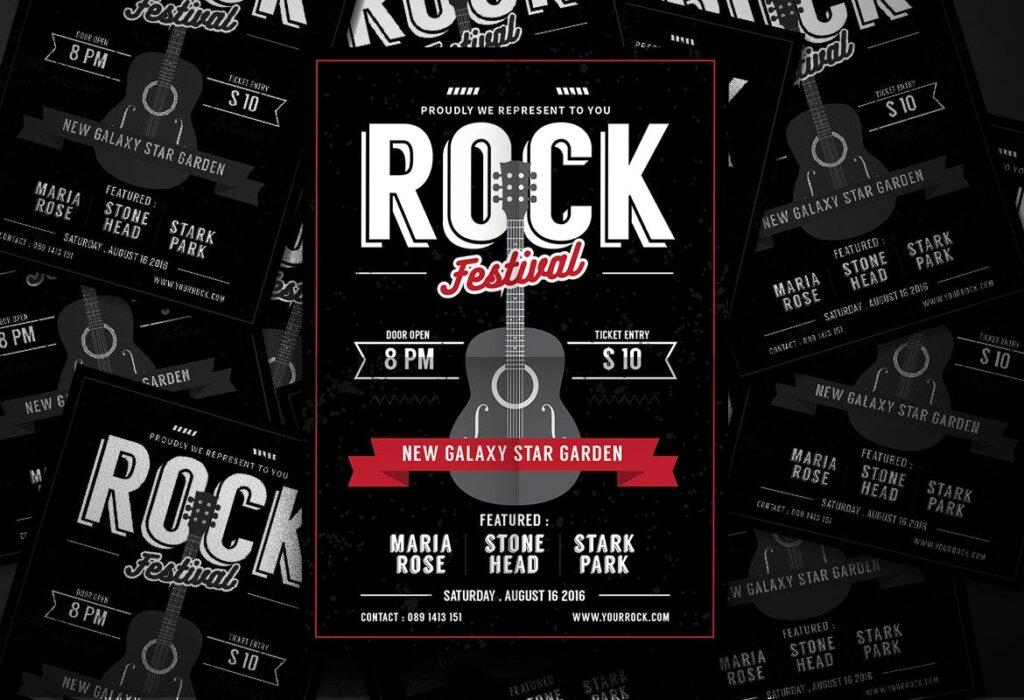 冰淇淋海报宣传单模板Rock Music Flyer HRY64V插图(3)