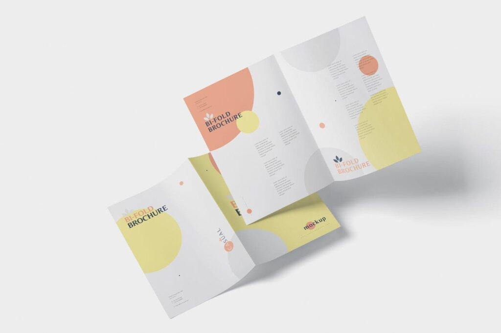 企业介绍A5双折页小册子模板素材样机下载A5 Bi-Fold Brochure Mock-Up Set插图(4)