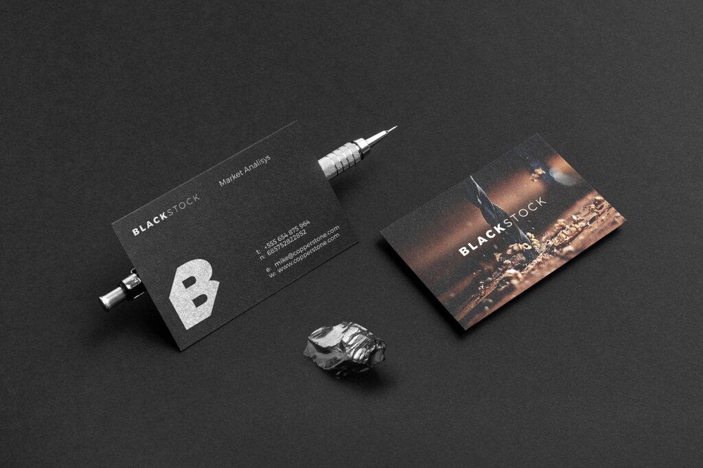 轻奢黑色高端品牌识别VIS系统办公模板素材样机下载Blackstone Branding Mockup Vol. 1插图(4)