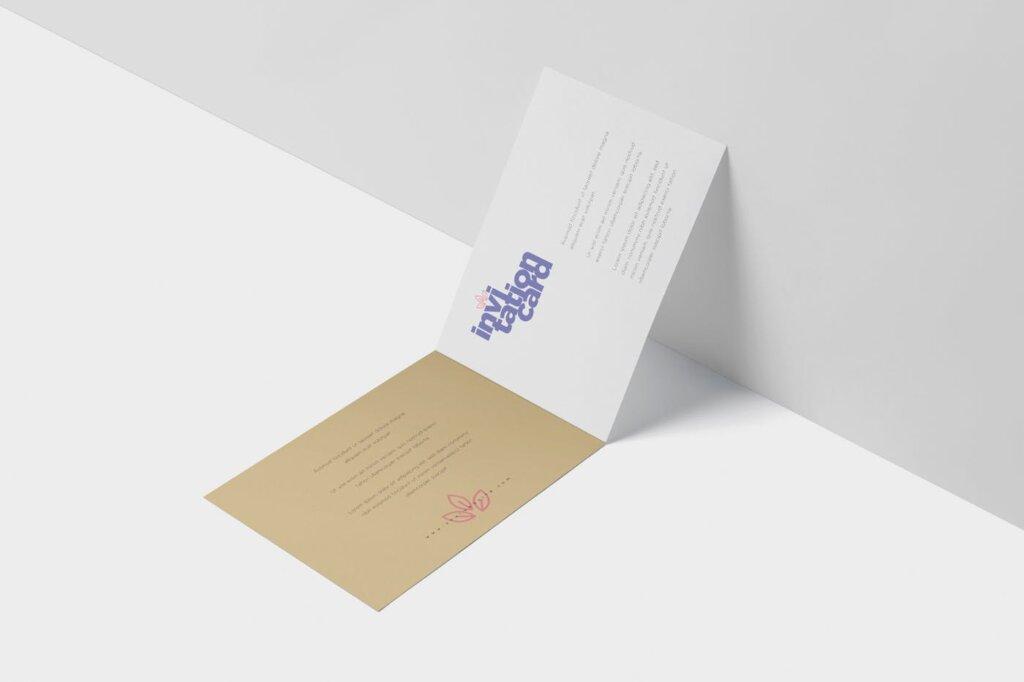 折页邀请函样机素材样机下载Invitation Card Mock Up Set插图(4)