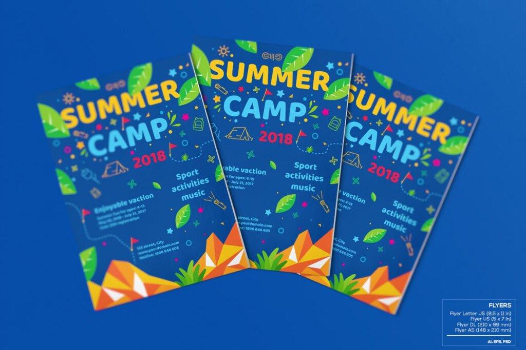 商业活动传单模板素材样机下载Kids Summer Camp Set Template WPLZAE插图(4)