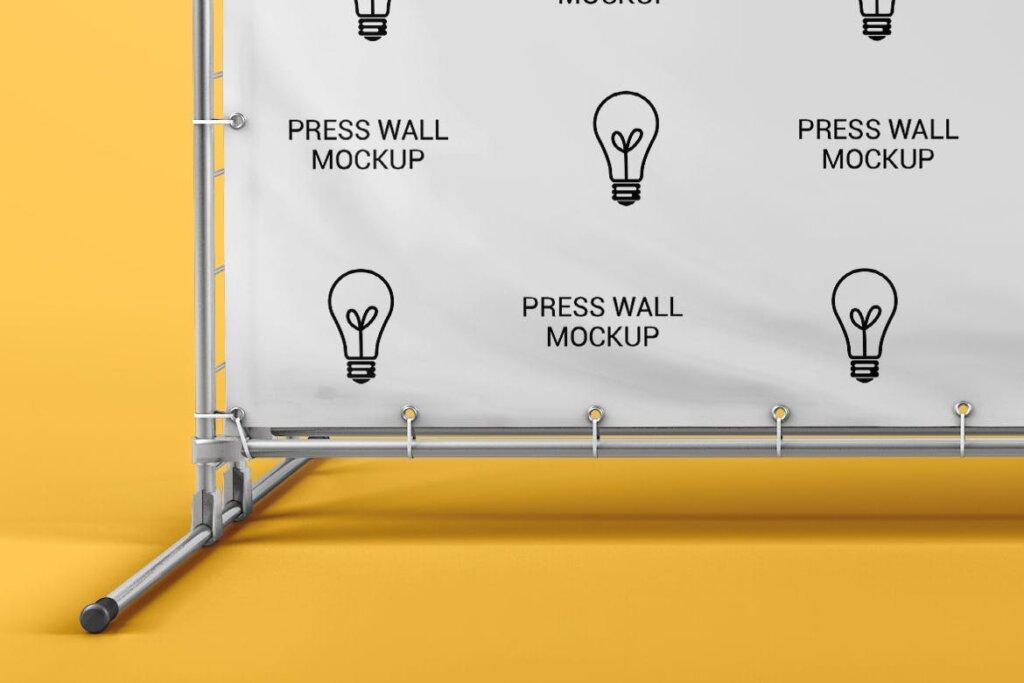 横幅广告模板素材样机下载Press Wall / Stand Banner Mockup插图(4)