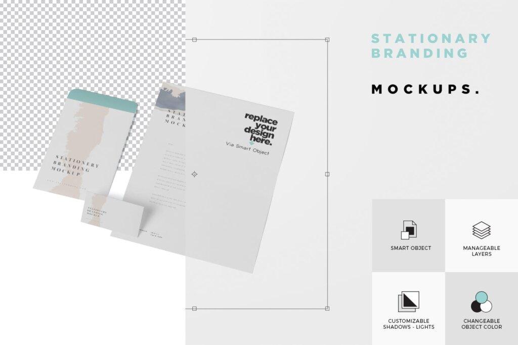 经典的文具/品牌识别系统模型样机素材下载Stationary – Branding Mock-Up插图(4)