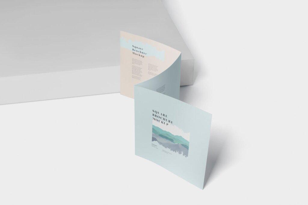 方形的三折小册子模型集样机素材下载Tri Fold Brochure Mock Up Square插图(4)