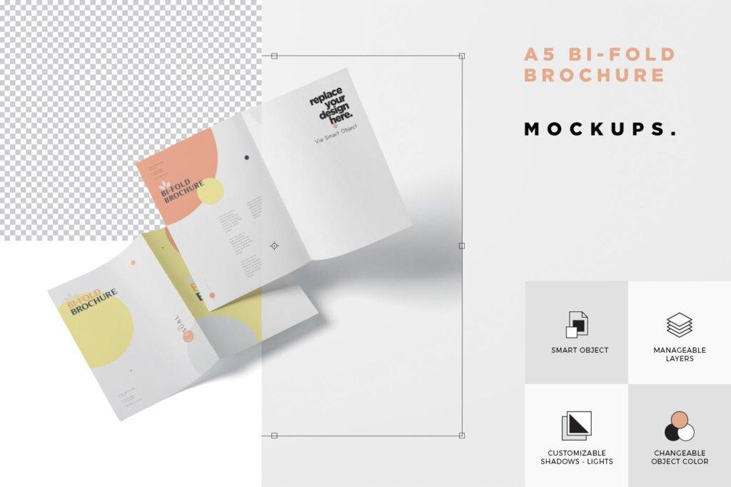 企业介绍A5双折页小册子模板素材样机下载A5 Bi-Fold Brochure Mock-Up Set插图(5)