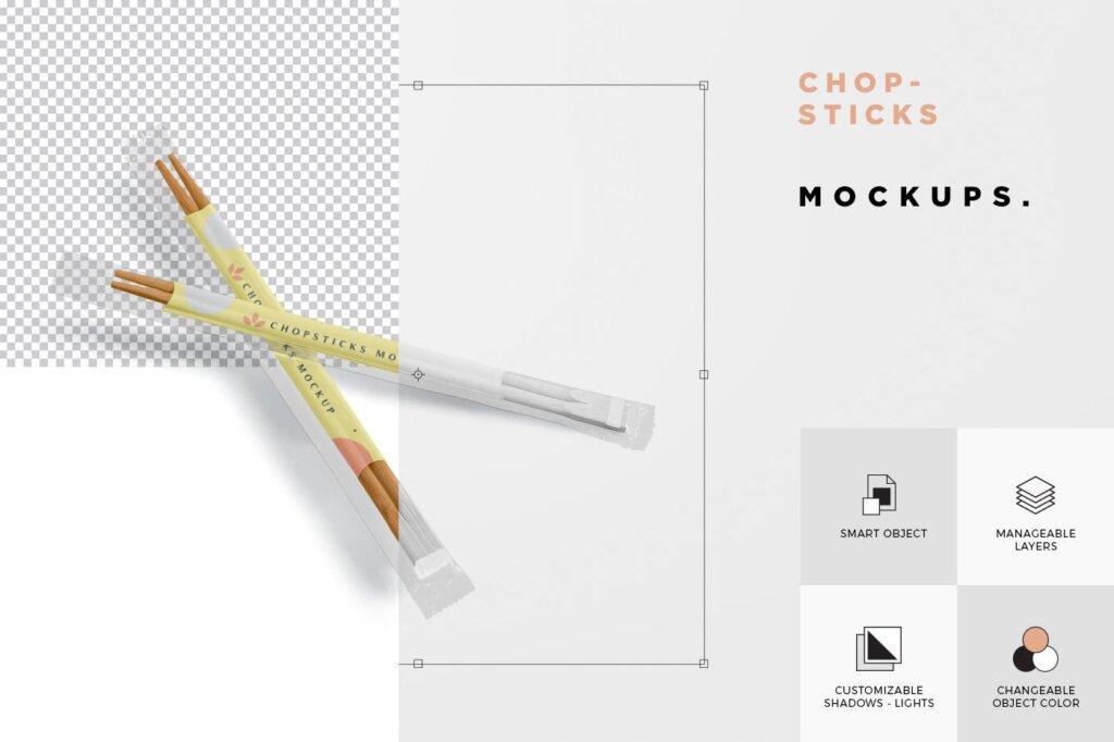 精致木质纹理高端品牌筷子样机素材下载Chopsticks Mockup in Transparent Packaging插图(5)