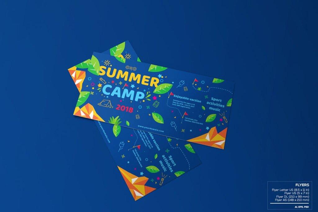 商业活动传单模板素材样机下载Kids Summer Camp Set Template WPLZAE插图(5)