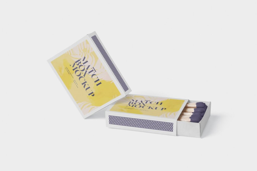 精致文艺高级火柴盒模型样机素材Match Box Mock Up Set插图(4)