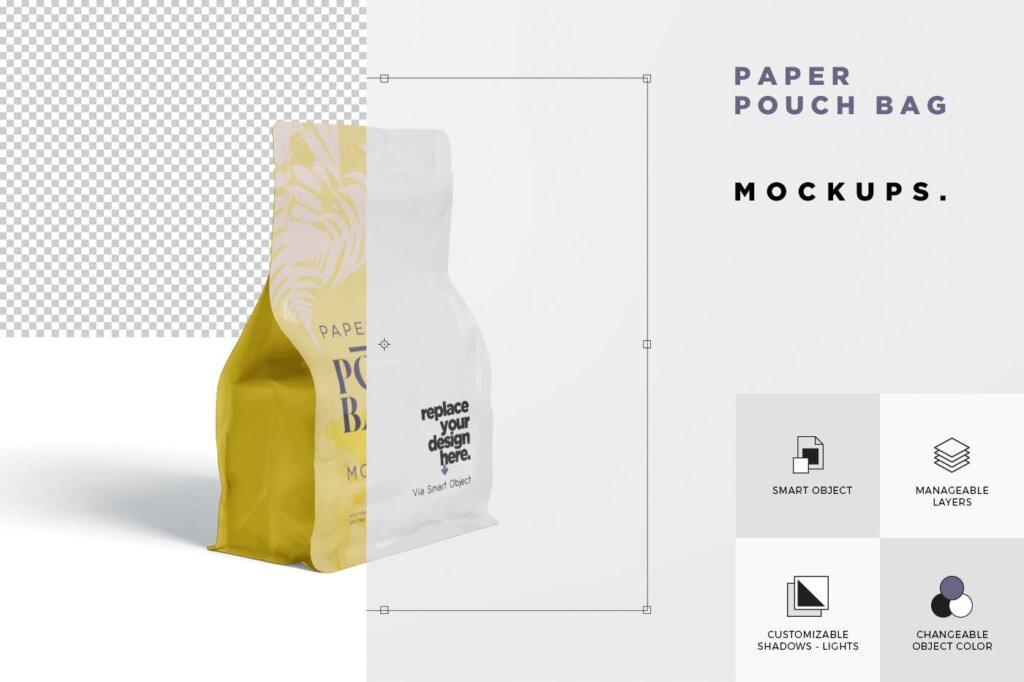牛皮纸包装袋模型样机素材下载Paper Pouch Bag Mockup 85QZ8AW插图(5)