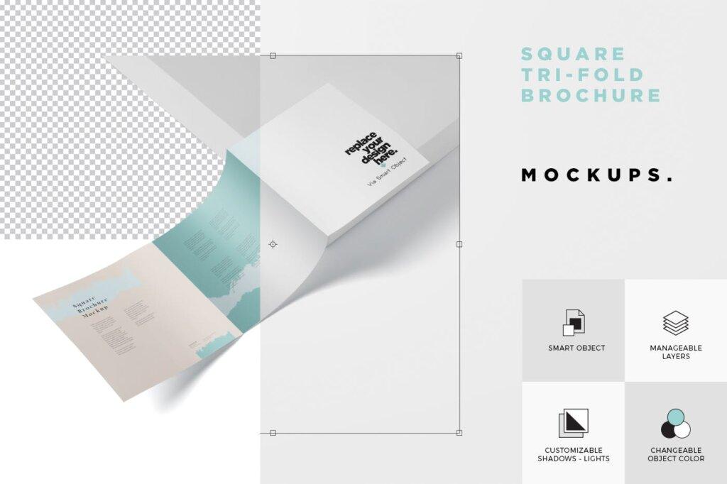 方形的三折小册子模型集样机素材下载Tri Fold Brochure Mock Up Square插图(5)