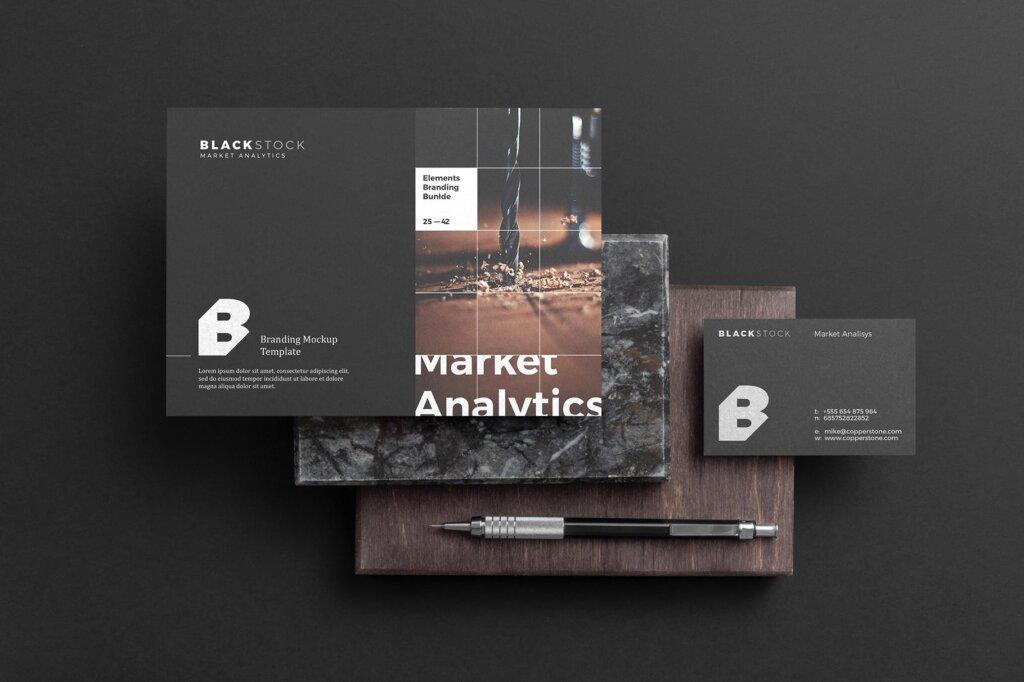 轻奢黑色高端品牌识别VIS系统办公模板素材样机下载Blackstone Branding Mockup Vol. 1插图(6)