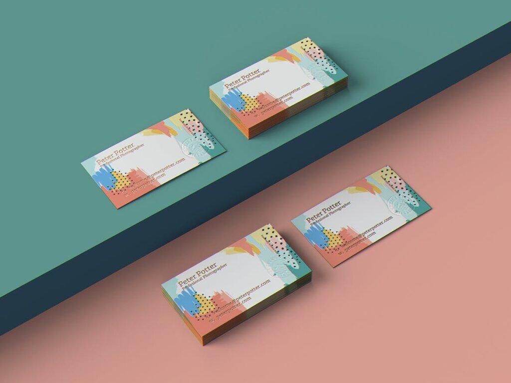企业商务名片品牌识别系统办公文具样机素材下载Business Card MockUp v1插图(5)