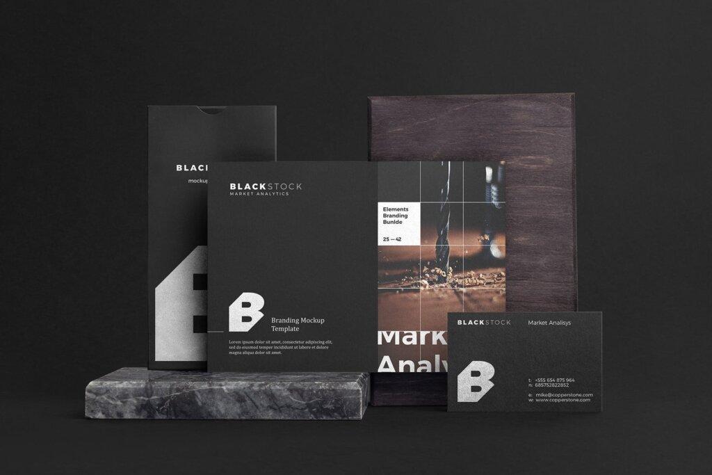 轻奢黑色高端品牌识别VIS系统办公模板素材样机下载Blackstone Branding Mockup Vol. 1插图(7)