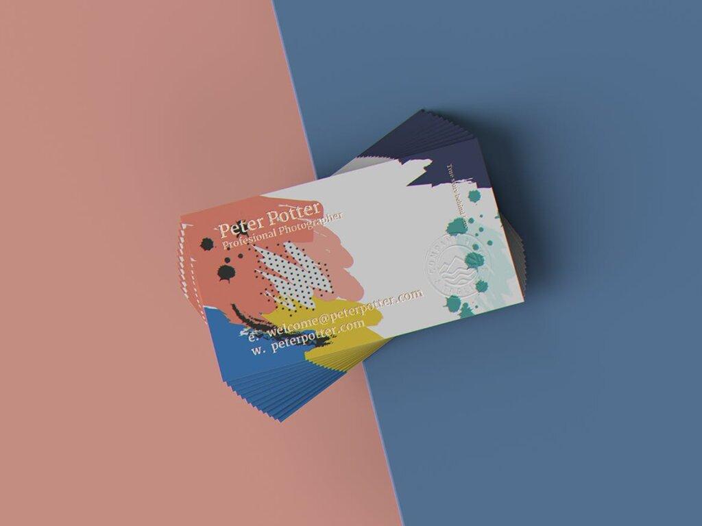 企业商务名片品牌识别系统办公文具样机素材下载Business Card MockUp v1插图(6)