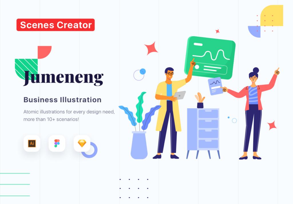 网站商业插画/企业互联网从业人员场景插图素材下载Jumeneng – Business Scenes Creator插图