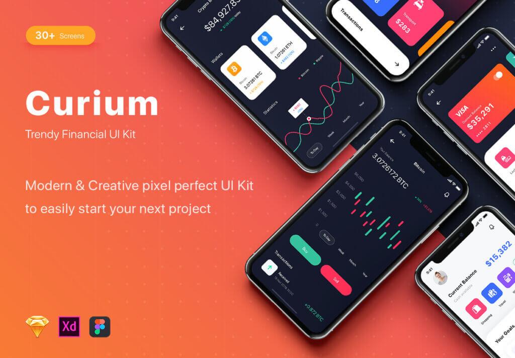 加密钱包货币数字/金融UI设计套件工具包Curium – Financial UI Kit插图