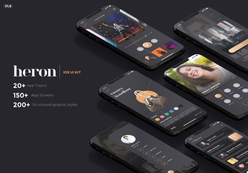 创意音乐概念设计UI界面素材模板Heron IOS UI Kit插图