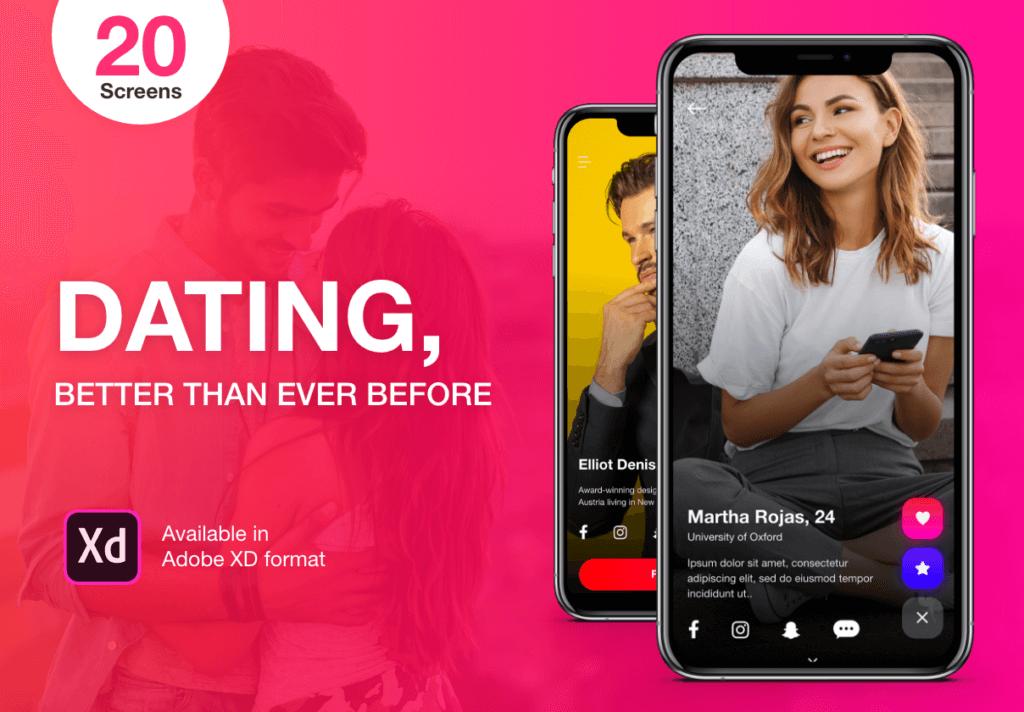 约会概念主题UI界面素材模板下载Dating Application UI Kit插图