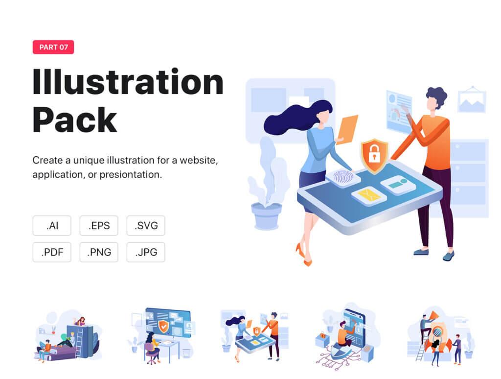 在线商城扁平插画素材模板素材下载Zopney – Illustration Pack插图(1)
