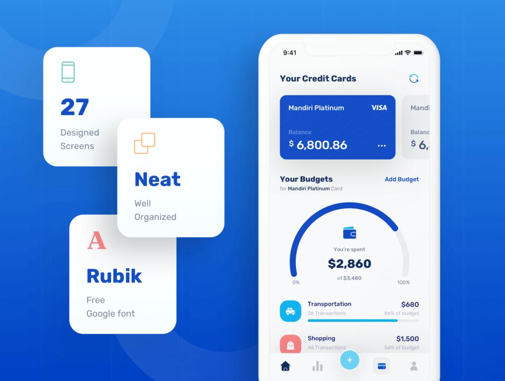 金融套装模板下载 iOS Ui app设计UI素材Banky – Finance App UI Kit插图(1)