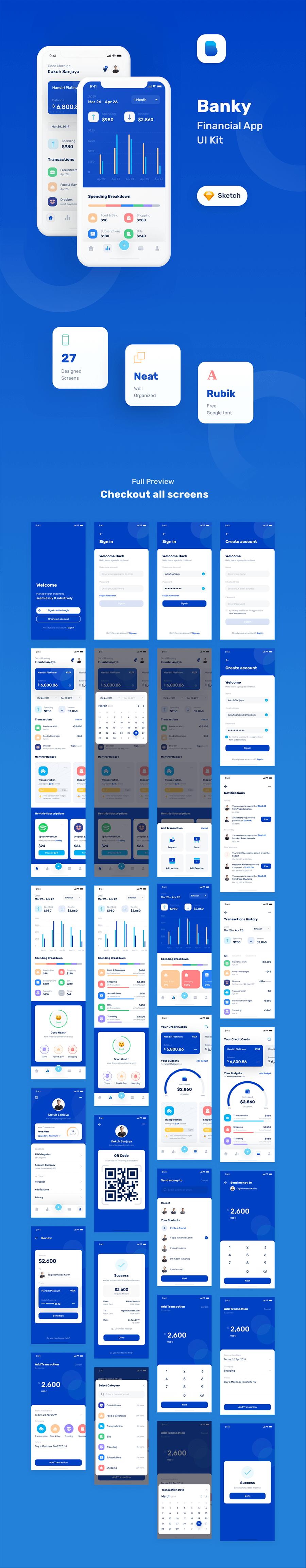金融套装模板下载 iOS Ui app设计UI素材Banky – Finance App UI Kit插图(5)