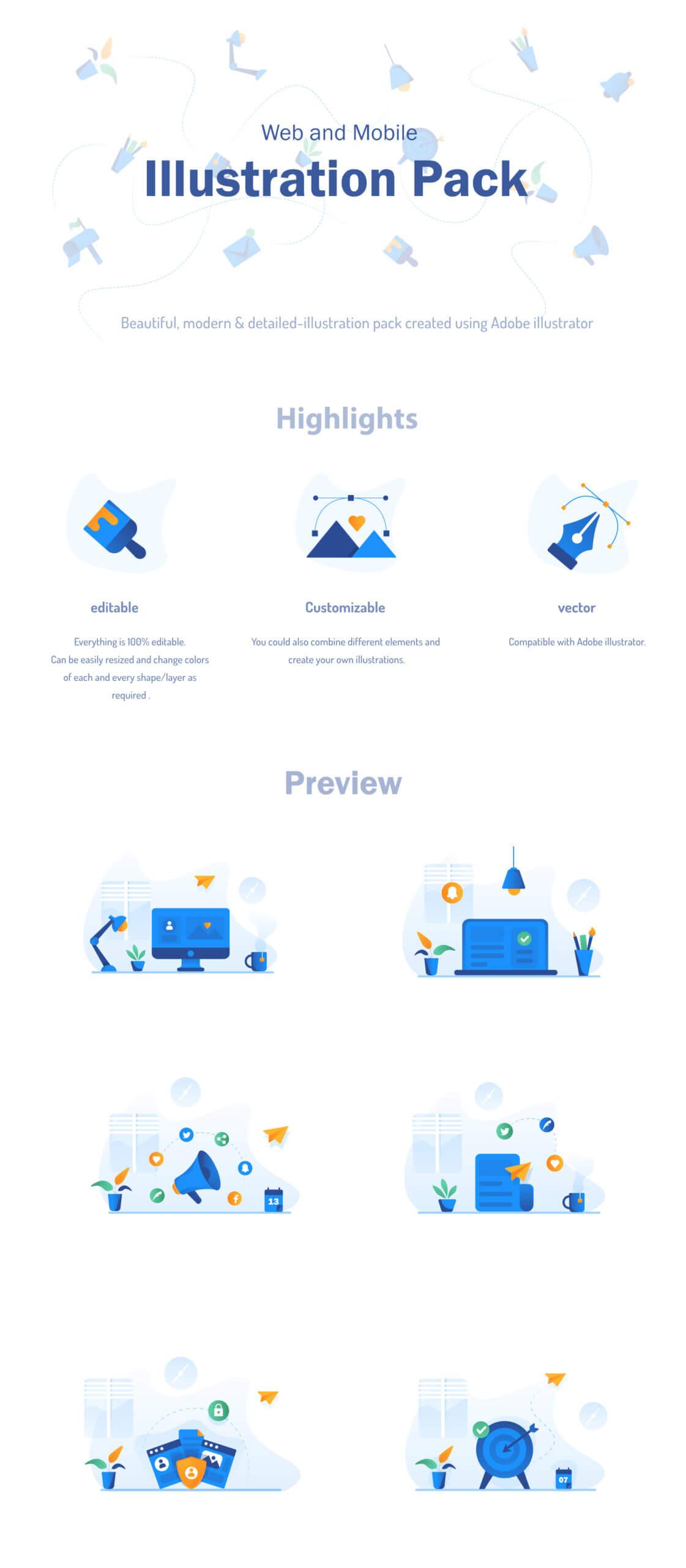 现代企业办公场景插画/移动界面素材下载Illustration Pack插图(11)