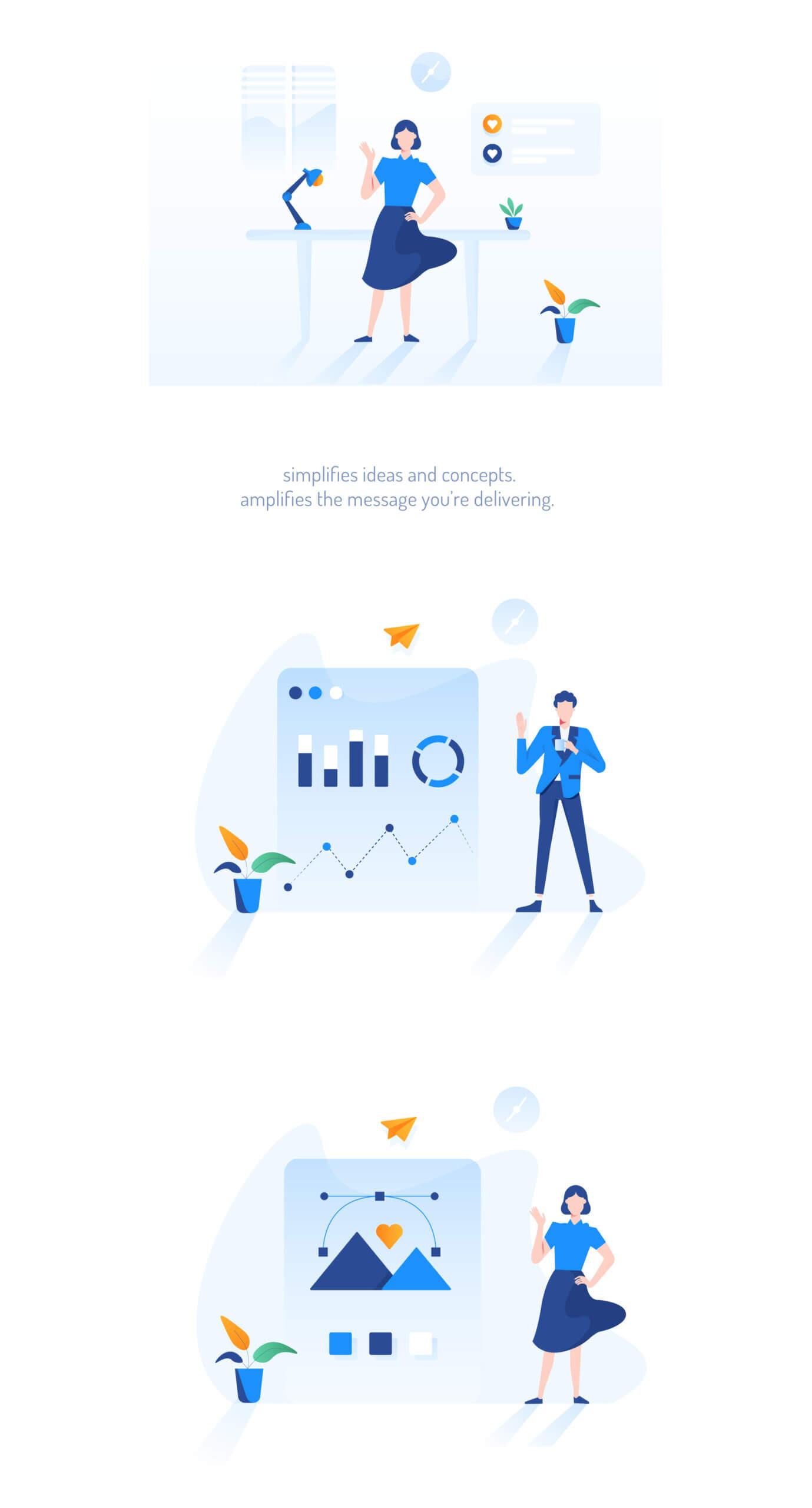 现代企业办公场景插画/移动界面素材下载Illustration Pack插图(14)