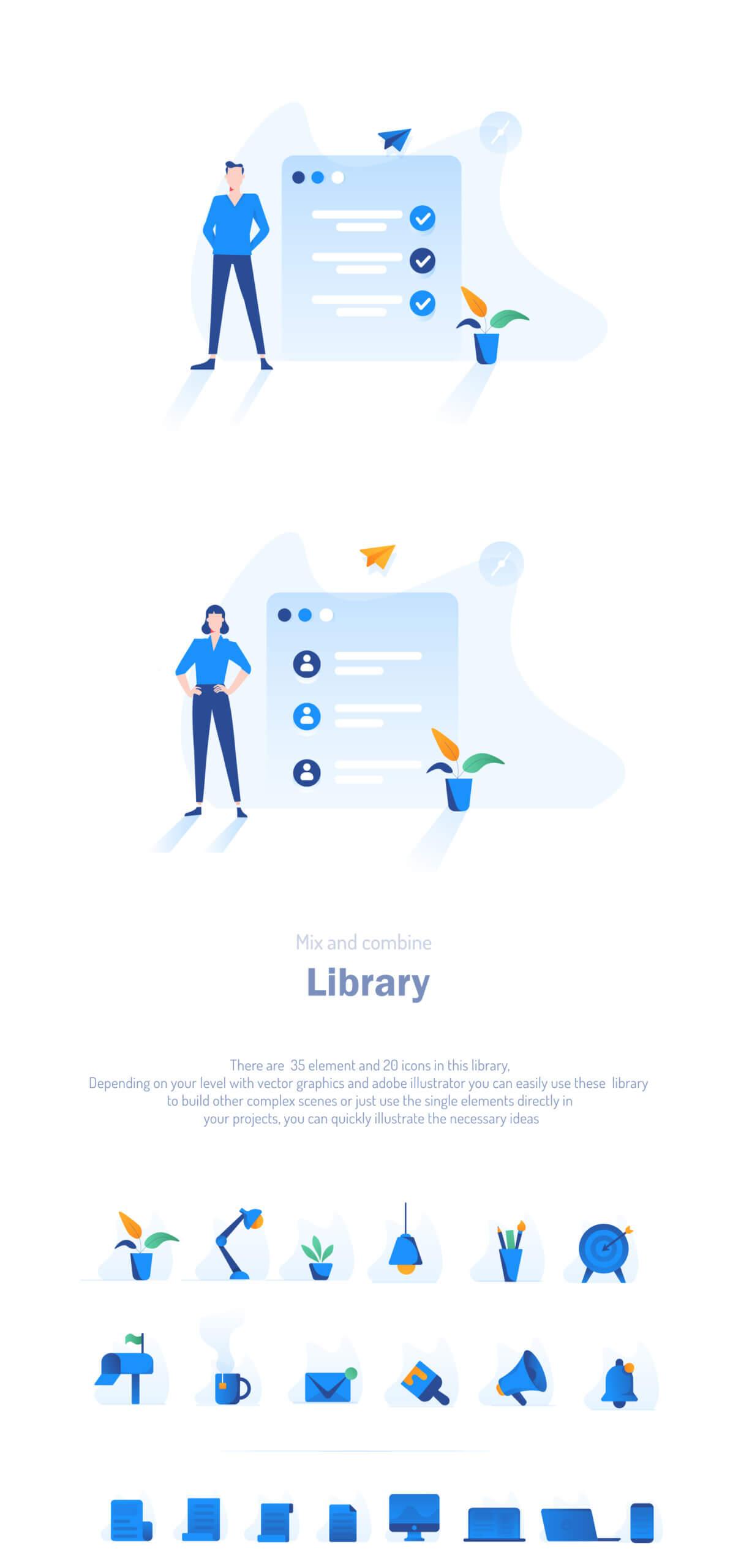 现代企业办公场景插画/移动界面素材下载Illustration Pack插图(15)