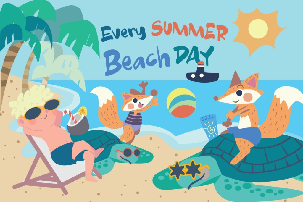 夏日海滩日场景插画设计方案Beach Day – Vector Illustration插图