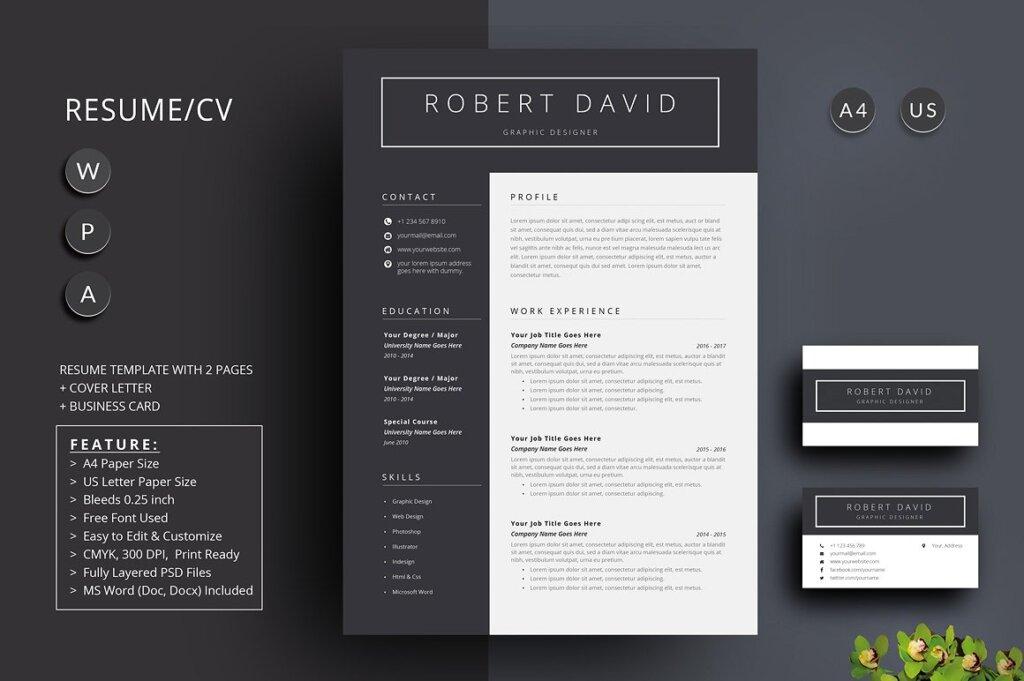 经典黑白简约设计方案简历展示模板插图