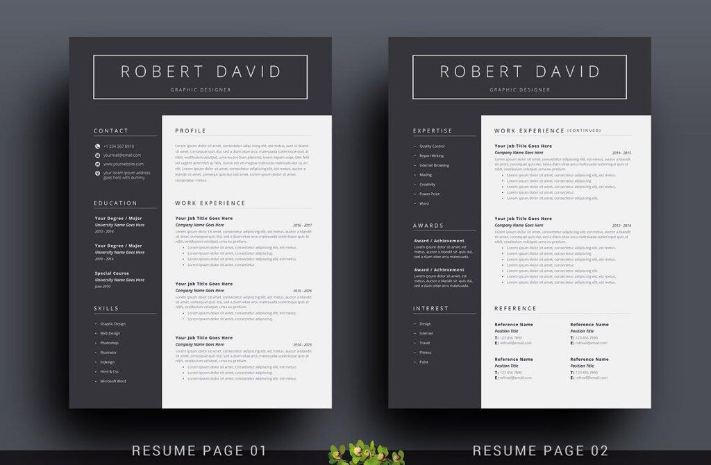 经典黑白简约设计方案简历展示模板插图(1)