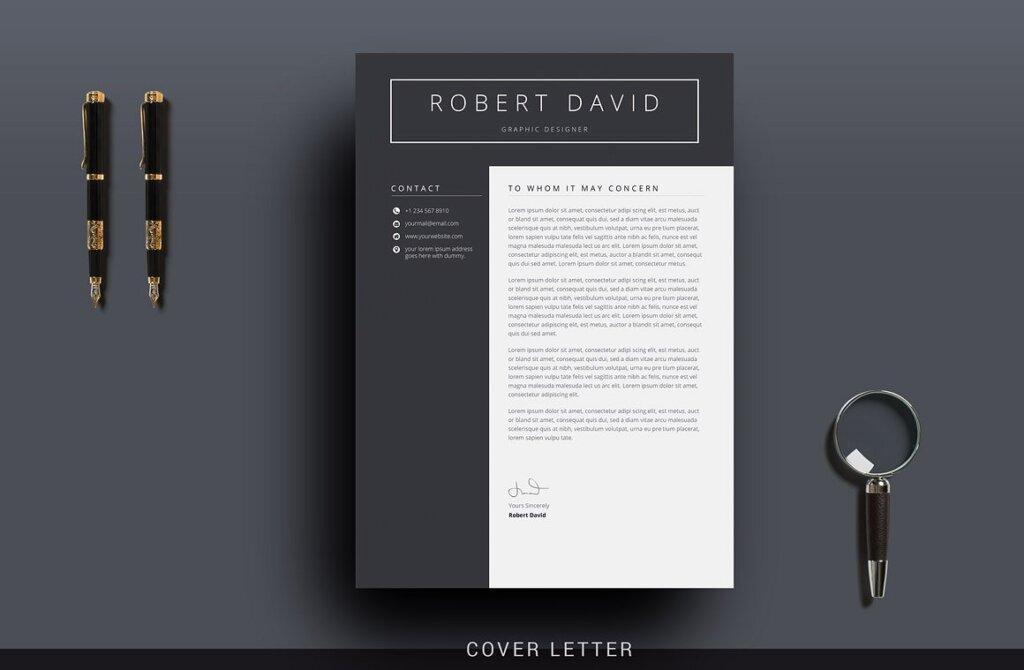 经典黑白简约设计方案简历展示模板插图(2)