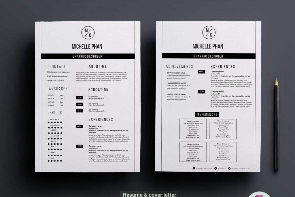 职场精致现代简约简历模板 Modern 2 page resume template插图
