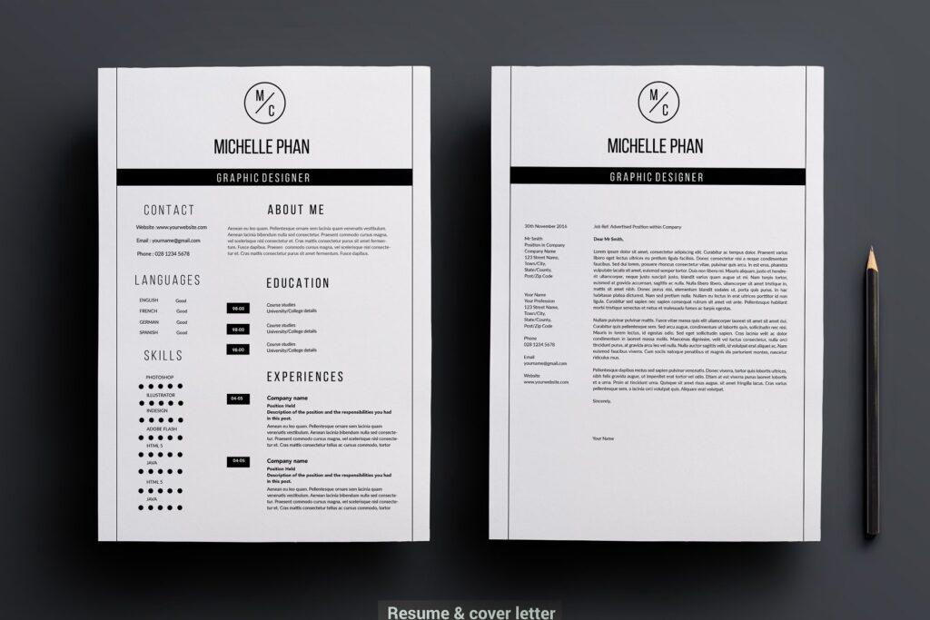 职场精致现代简约简历模板 Modern 2 page resume template插图(1)