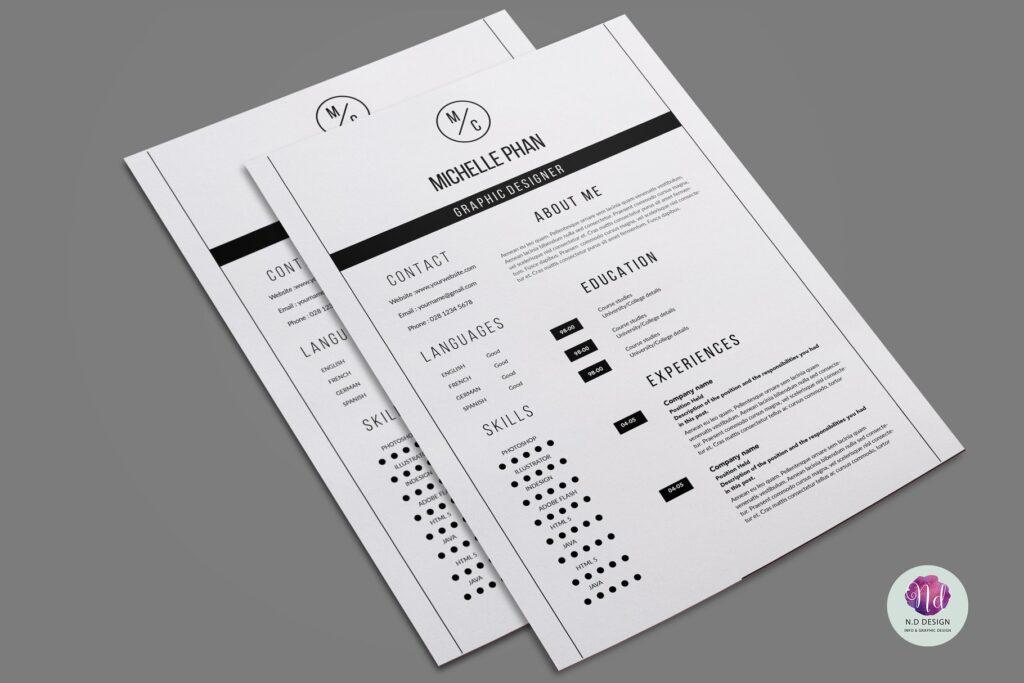 职场精致现代简约简历模板 Modern 2 page resume template插图(3)