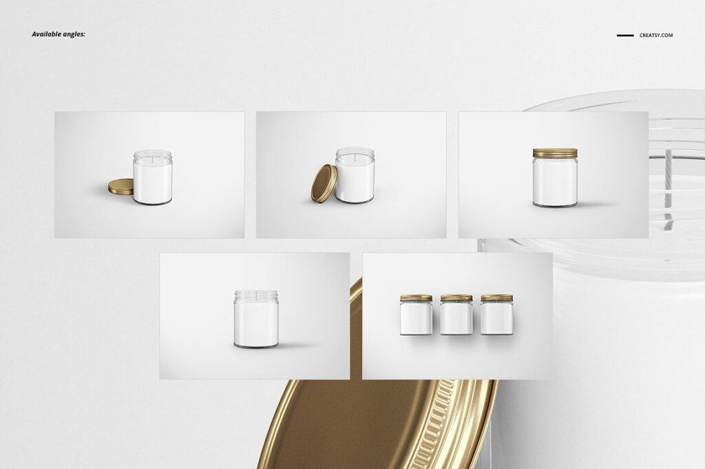 精致的蜡烛香薰玻璃杯包装设计展示样机品牌PSD智能贴图样机模版素材插图(1)