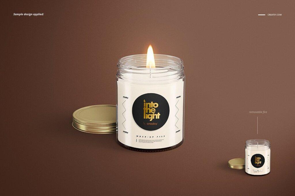 精致的蜡烛香薰玻璃杯包装设计展示样机品牌PSD智能贴图样机模版素材插图(2)