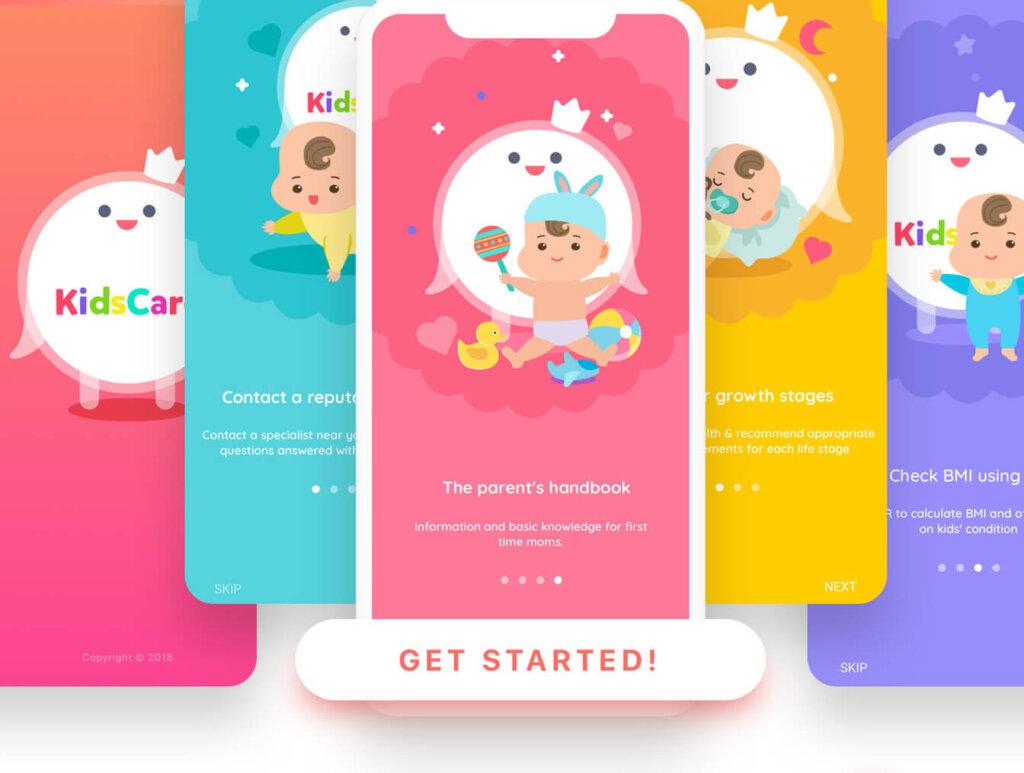 幼儿园儿童健康跟踪管理系统APP设计 UI工具包 KidsCare UI Kit插图(2)
