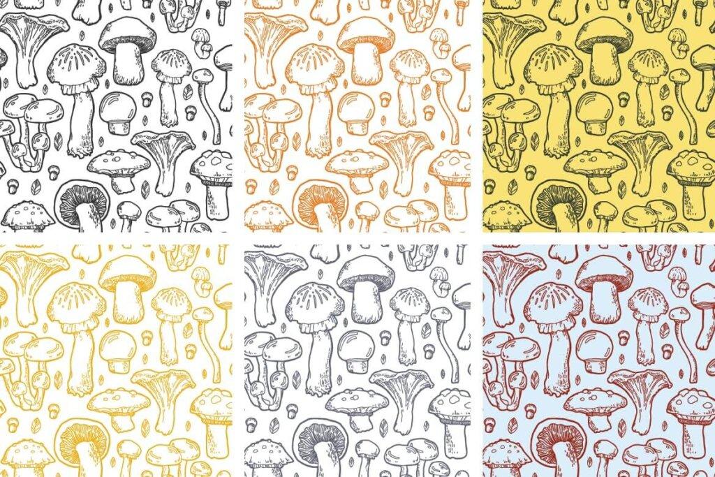 野生菌种图案纹理素材合集素材下载Mushroom handdrawn pattern插图(4)