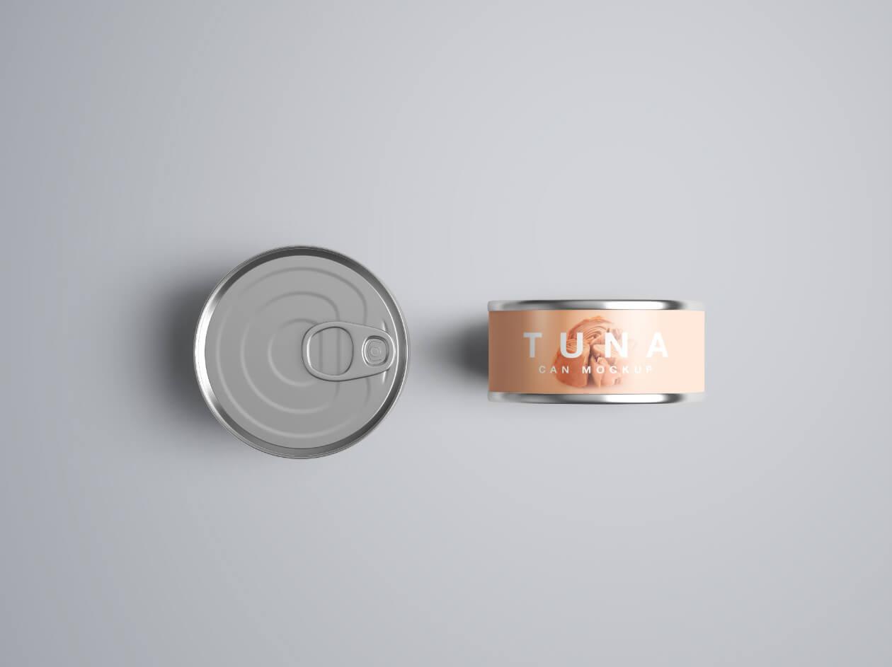金枪鱼食品金属罐头样机模版素材Tuna Can Mockup插图