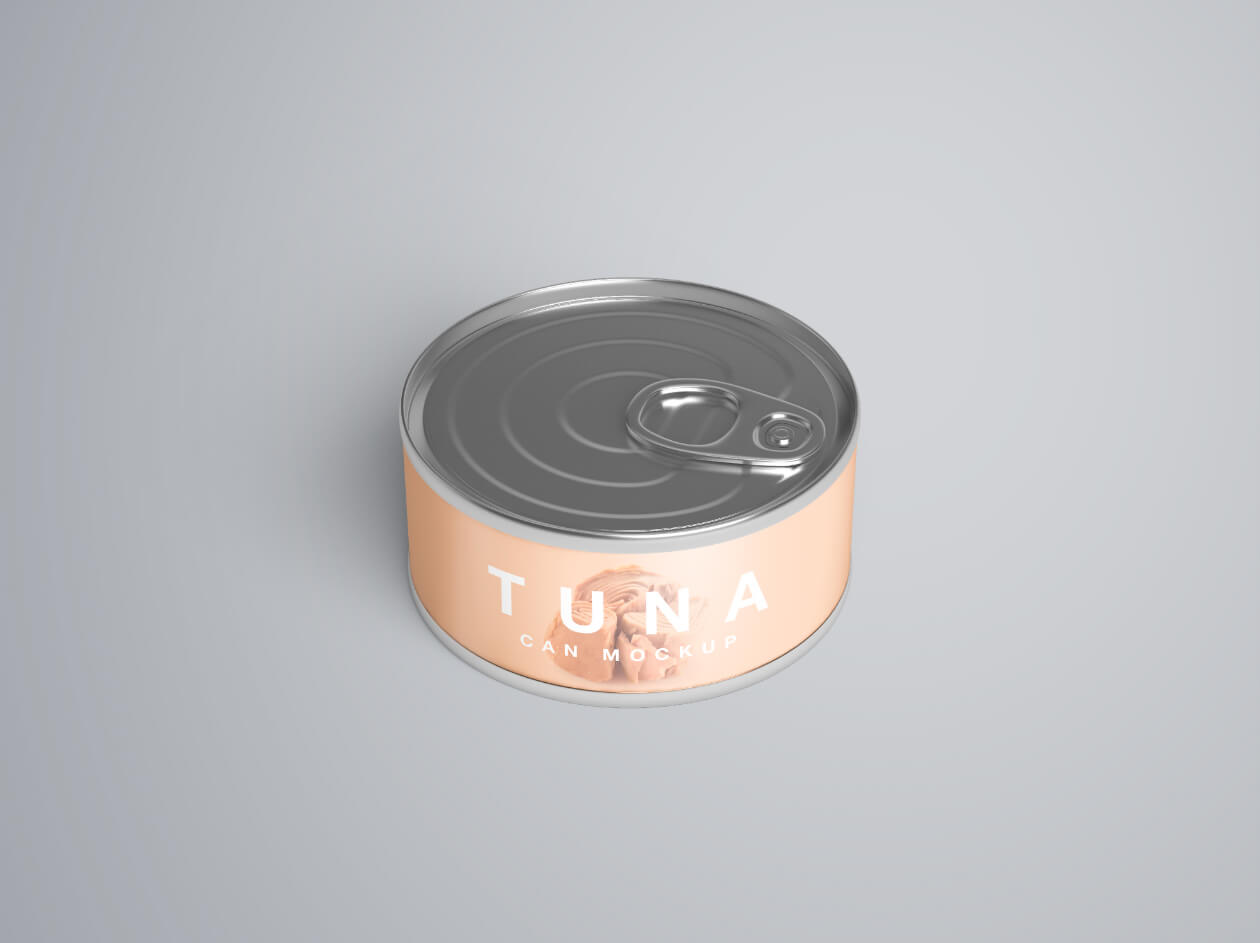 金枪鱼食品金属罐头样机模版素材Tuna Can Mockup插图(4)