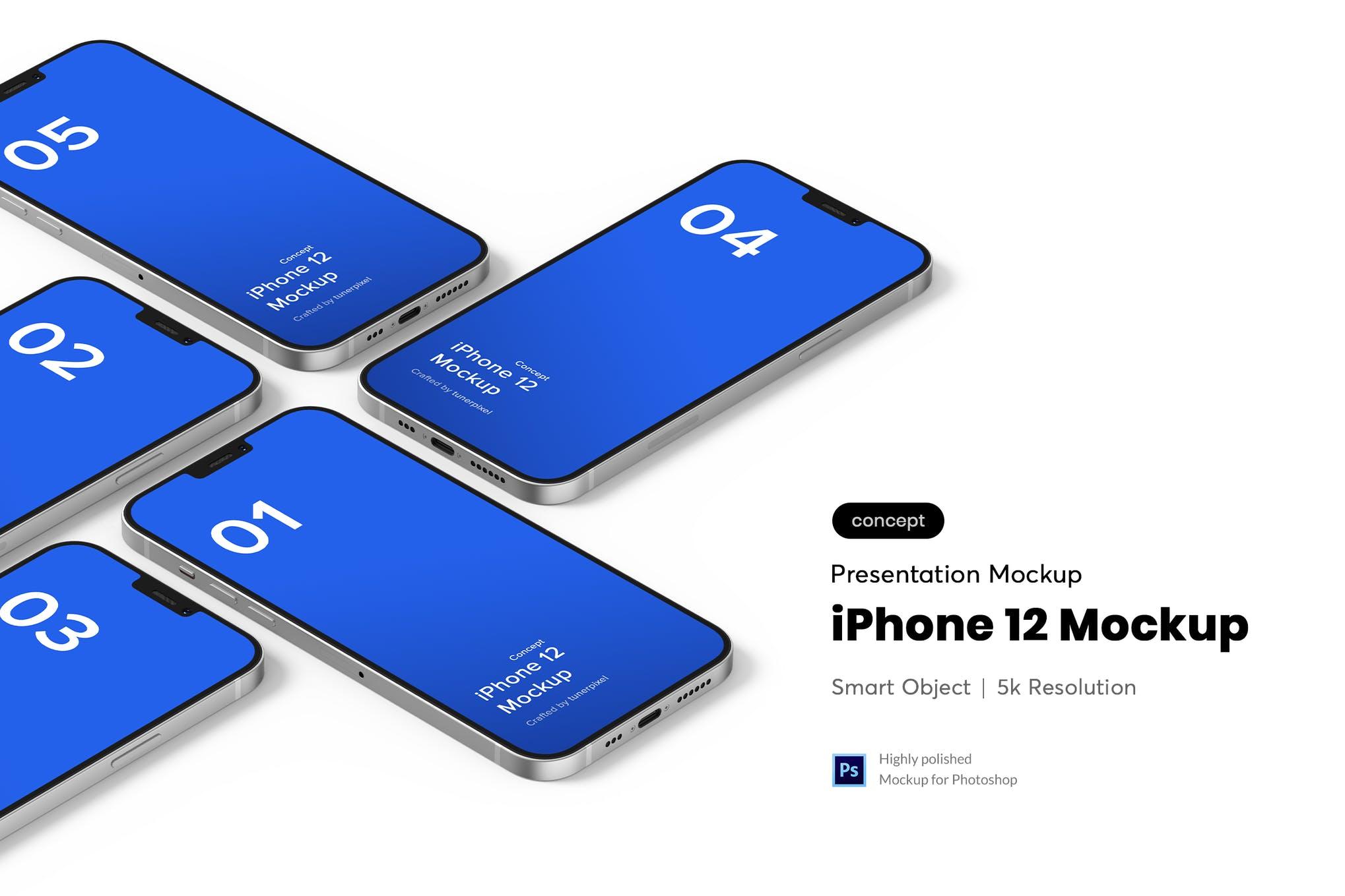 多种透视角度iPhone 12样机模板素材 SXT6LTH插图