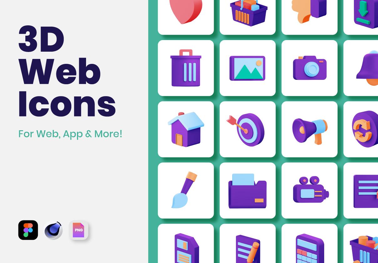 60个3D Web图标移动应用程序模板素材下载插图
